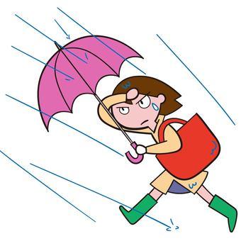 A woman walking toward the rain that strikes sideways