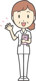 Middle-aged women nurse white coat-087-whole body