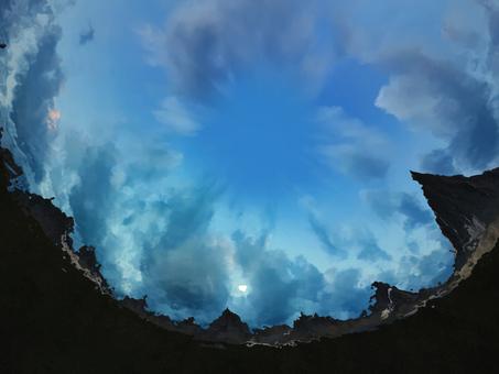 Water spirit to inquire the huge mountain range