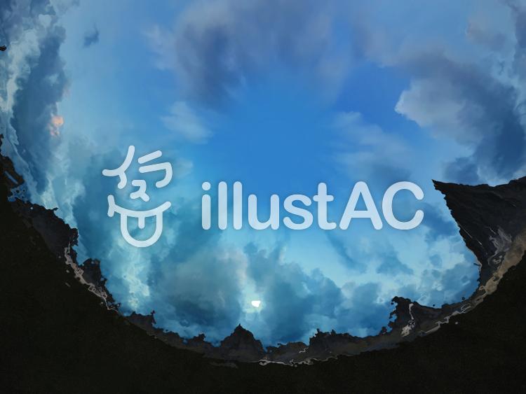 巨大山脈を伺う水の精のイラスト
