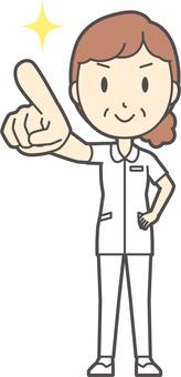 Middle-aged female nurse white coat-218-whole body