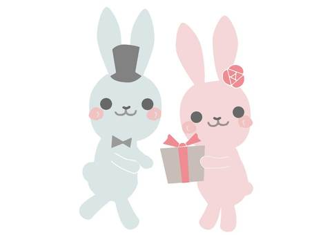 Pink rabbit giving a present