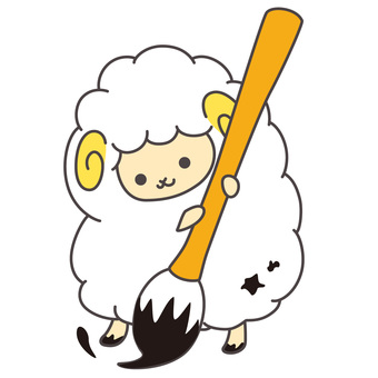 Sheep with a brush