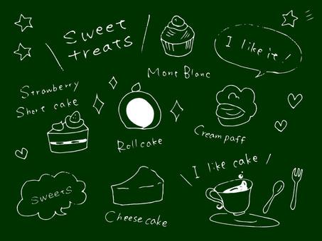 Cake various blackboard style