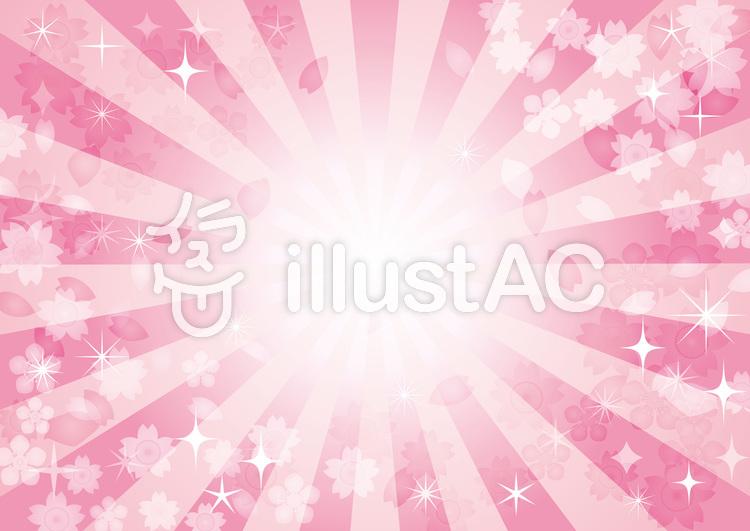 集中線効果線きらきら星桜春花背景のイラスト