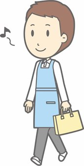 Apron owner - walking - whole body