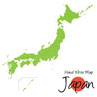 手書き日本地図