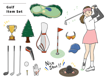 Hand drawn style golf illustration set