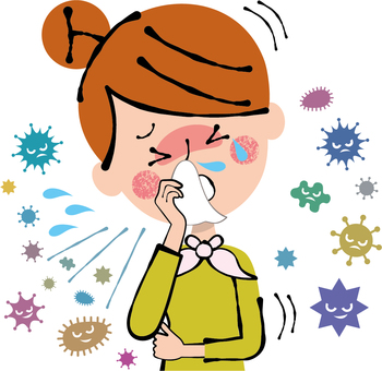 Awful cough runny cold flu woman