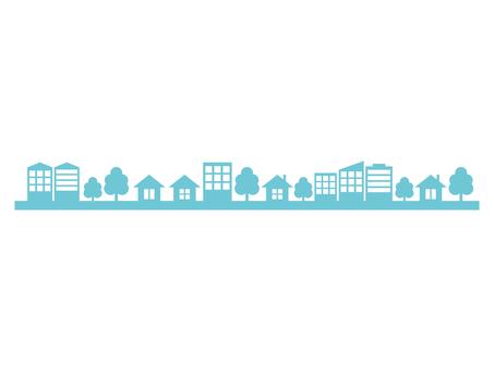City street silhouette blue