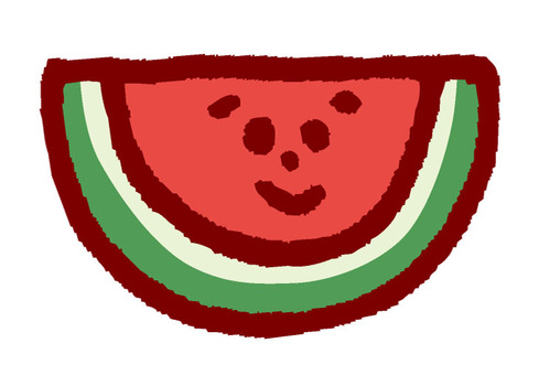 There is a watermelon face