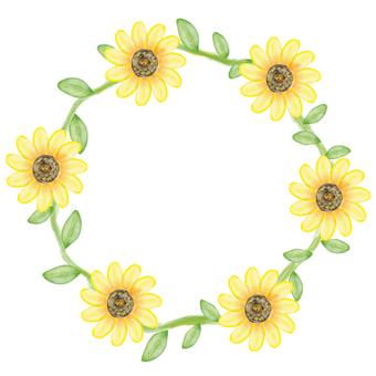 Watercolor Wind Sunflower Flower Frame
