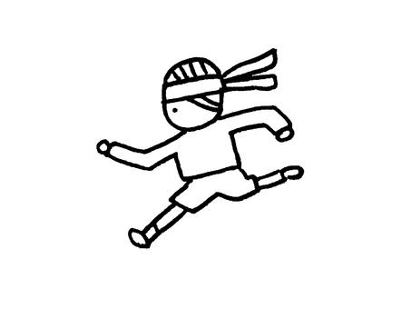 달리는 흑백