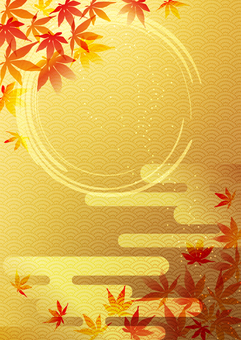 Red leaves _ and handle _ gold foil _ 縦 type 2254