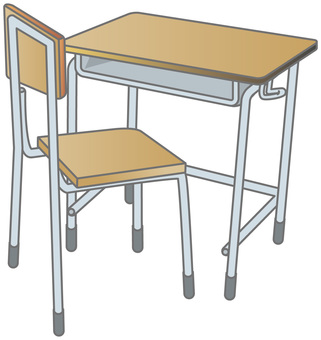 Desks and chairs in the classroom