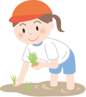 A girl planting a rice