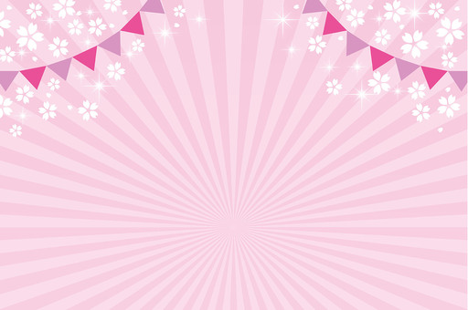 Spring event material ☆ Sakura · Radiation with flag ☆ Background picture