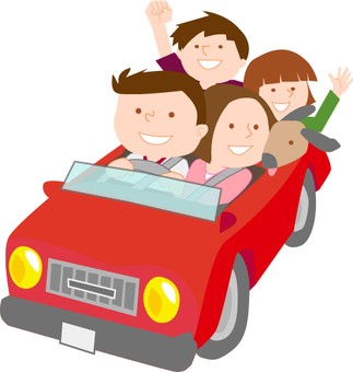Drive with family (red car)