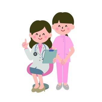 Medical - female doctor and female nurse to explain