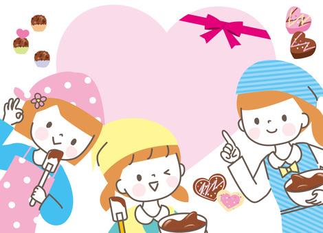 발렌타인 초콜릿을 만드는 여자