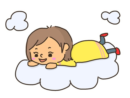 Girl lying on the clouds