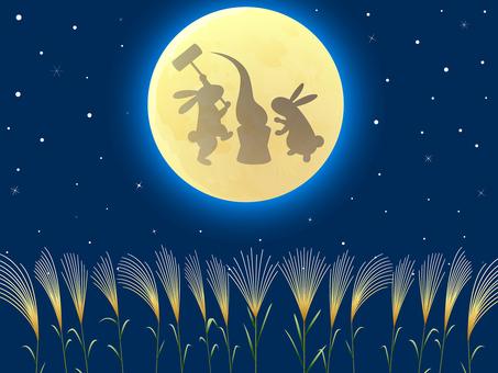 Moon view · rabbit mochi · sesuki background