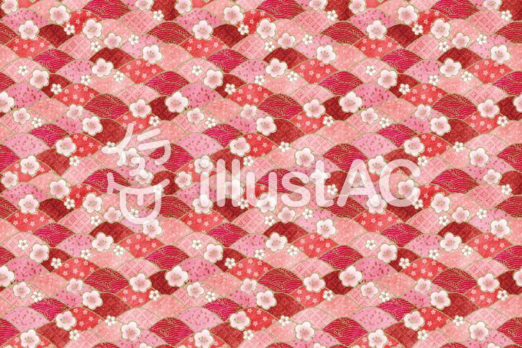 梅の千代紙パターンのイラスト