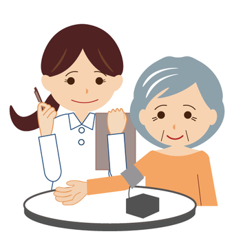 Grandma measuring blood pressure
