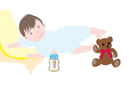 Baby and teddy bear and baby bottle