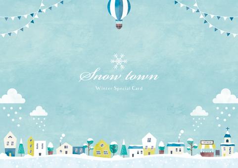 冬季背景框架036雪城市景觀水彩