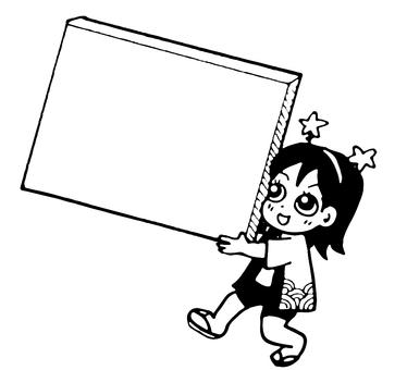 A woman holding a box