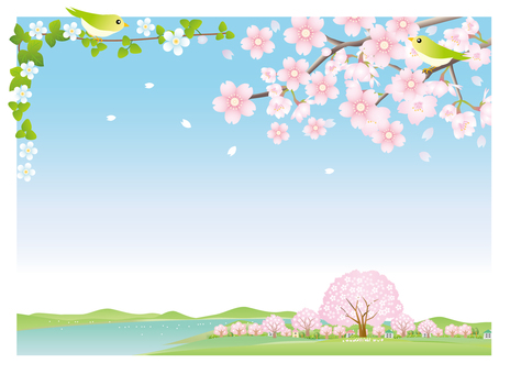 Lake and cherry landscape background