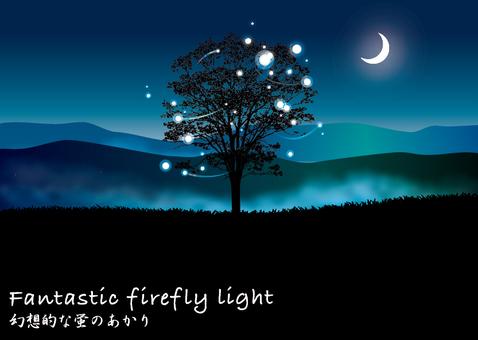 月夜の山4 三日月と幻想的な蛍のあかり