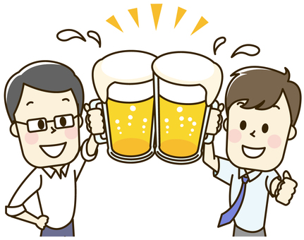 Men who drink beer at drinking party 2-1-2 toast