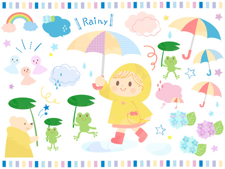 Illustration of a cute rainy season kid and a frog