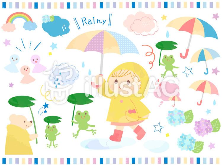 かわいい梅雨の子供とかえるのイラストのイラスト