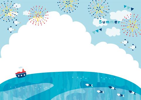Blue sky fireworks