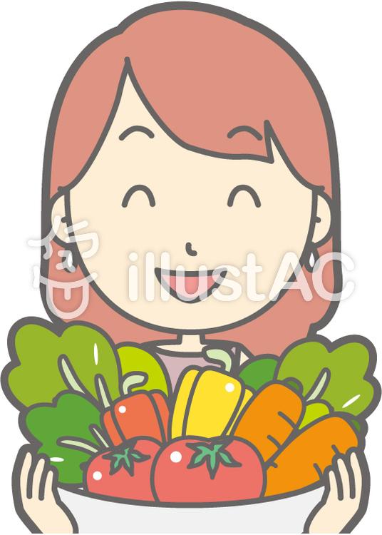 私服OLb-野菜-バストのイラスト