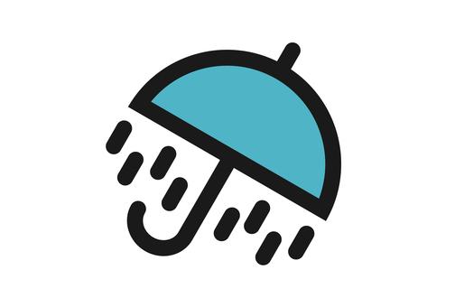 Heavy rain and umbrella mark icon