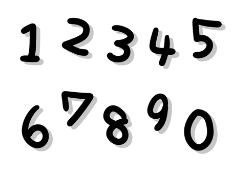 Handwritten style monochrome solid numbers