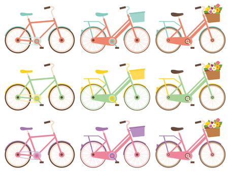 Colorful bicycle set