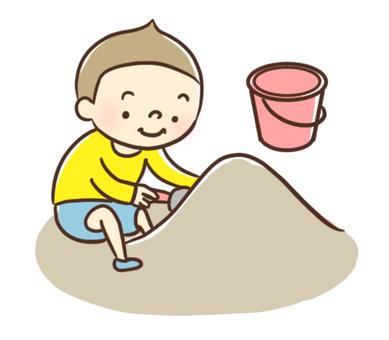 모래밭에서 노는 아이