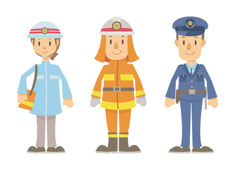 Lifeboat, firefighter and policeman