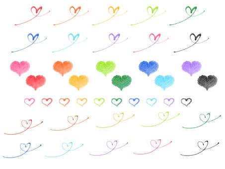 """Hand-drawn Material"" Heart Various"