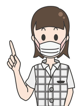 Office worker woman in summer clothes-pointing (mask)