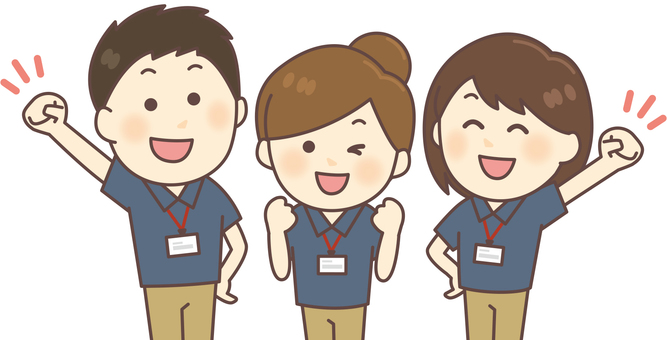 3 people staff of polo shirt (navy blue)