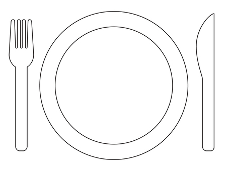Knife and fork and plate line