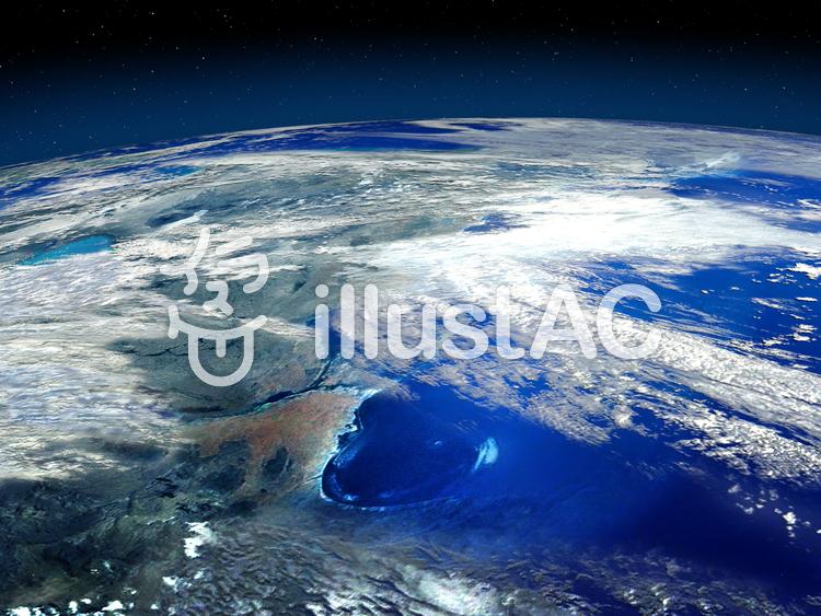 青い地球の海と大陸のイラスト
