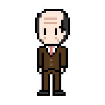 Bald man suit senior office worker