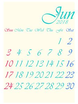 It is the calendar of June 2018.